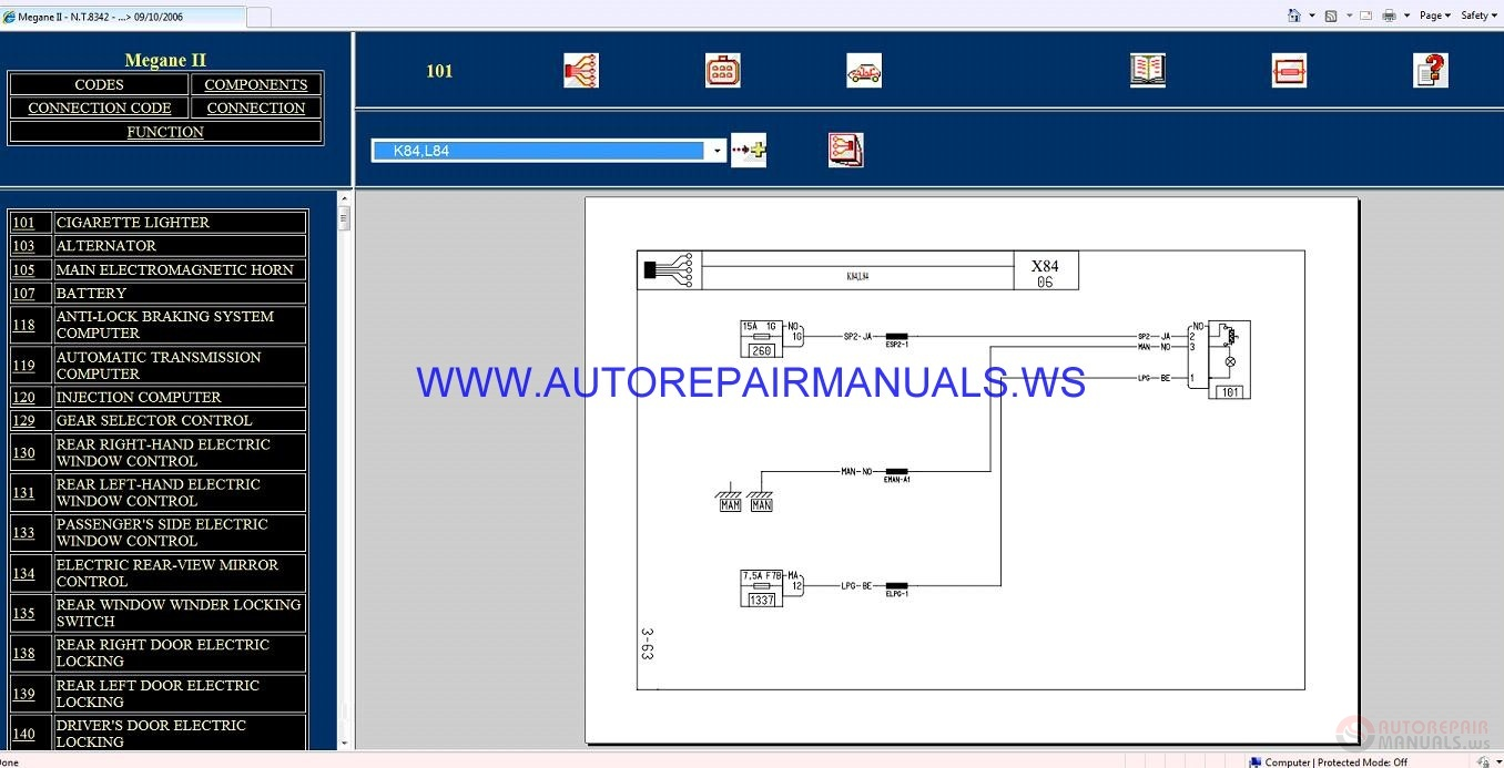 Renault Megane II X84 NT8342 Disk Wiring Diagrams Manual 09-10-2006 | Auto  Repair Manual Forum - Heavy Equipment Forums - Download Repair & Workshop  Manual | Renault Window Wiring Diagram |  | Autorepairmanuals.ws
