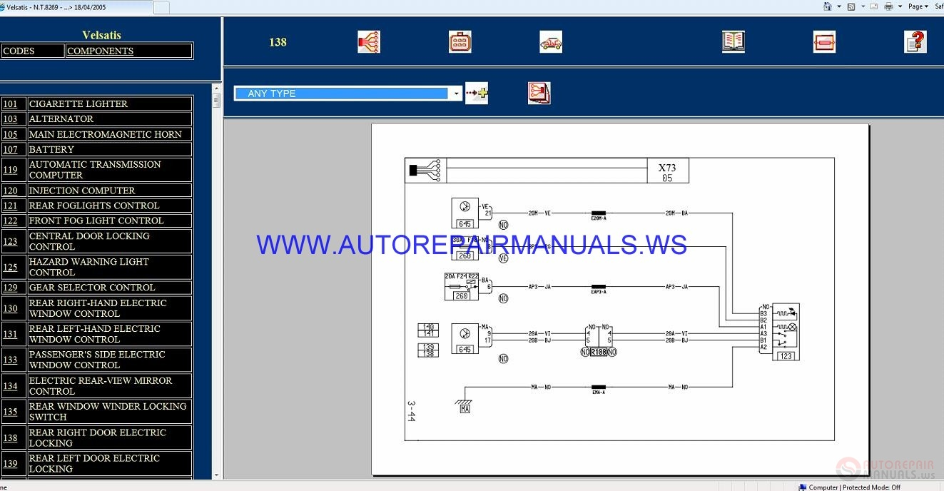 Renault Velsatis X73 Nt8269 Disk Wiring Diagrams Manual 18