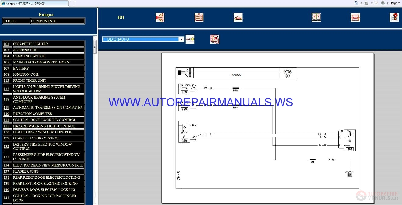 Renault Kangoo X76 Nt8237 Disk Wiring Diagrams Manual 07