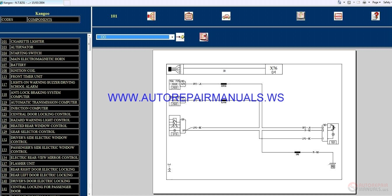 Renault Kangoo X76 Nt8251 Disk Wiring Diagrams Manual 15