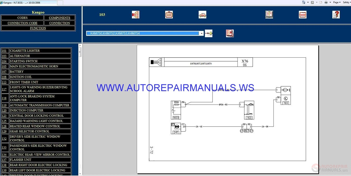 Renault Kangoo X76 Nt8331 Disk Wiring Diagrams Manual 10 10 2006 Chrysler Wiring  Diagrams Renault Kangoo Central Locking Wiring Diagram