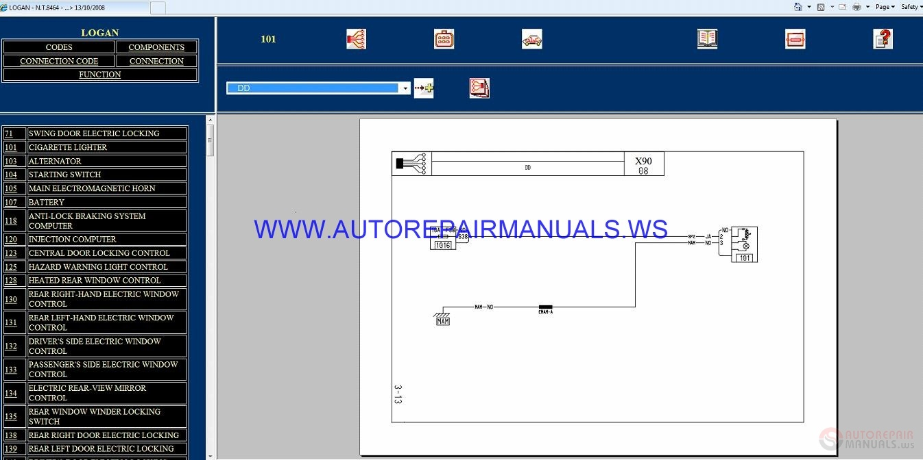 Renault Logan X90 Nt8464 Disk Wiring Diagrams Manual 13