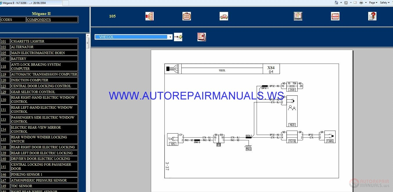 Renault Megane Ii X84 Nt8266 Disk Wiring Diagrams Manual