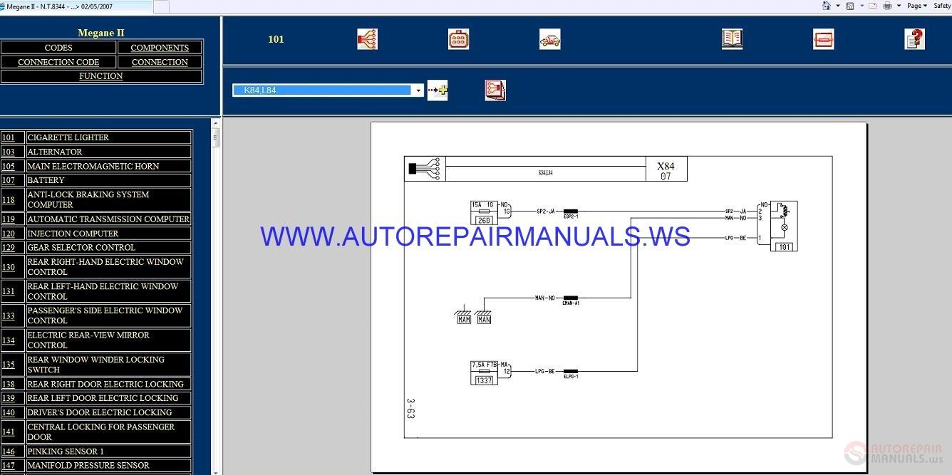 Renault Megane Ii X84 Nt8344 Disk Wiring Diagrams Manual