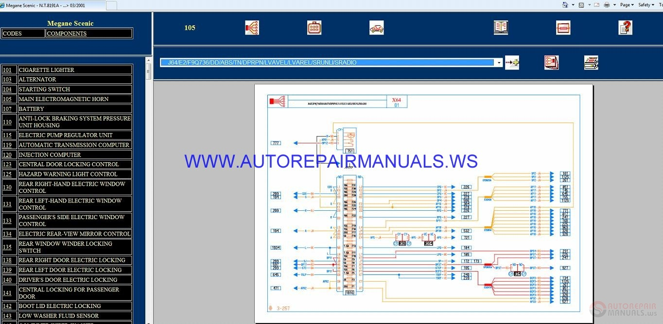 Renault Megane Scenic X64 Nt8191a Disk Wiring Diagrams Manual 03