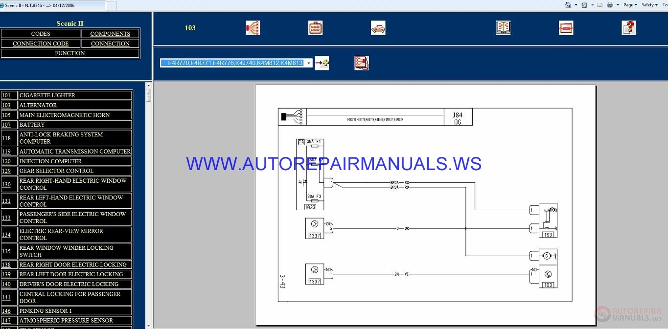 Renault Scenic Ii J84 Nt8346 Disk Wiring Diagrams Manual