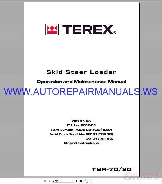 Hr16 Series: Terex TSR70-80 Skid Steer Loader Operation & Maintenance