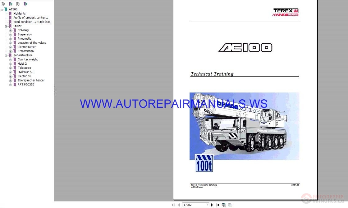 terex demag ac100 crane technical training manual  auto