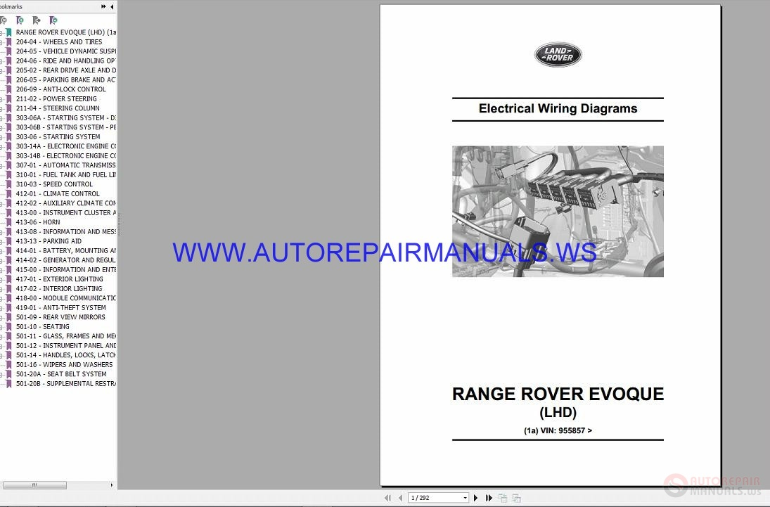 Range Rover Evoque Wiring Diagrams Diy Enthusiasts Schematics Land Lhd Electrical Manual Vin Rh Autorepairmanuals Ws P