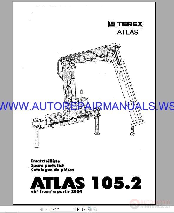 terex atlas 105 2 ecavator spare parts catalog 2004