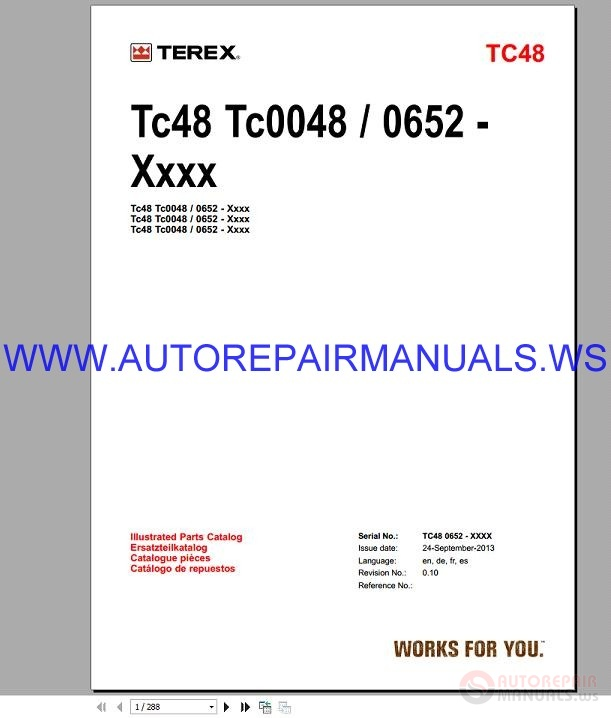 Hr16 Series: Terex TC48 Ecavator Spare Parts Catalog 24-09-2013
