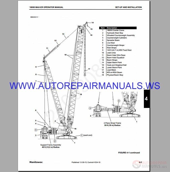 Manitowoc 18000 Crawler Crane Service  U0026 Parts Manual 2003