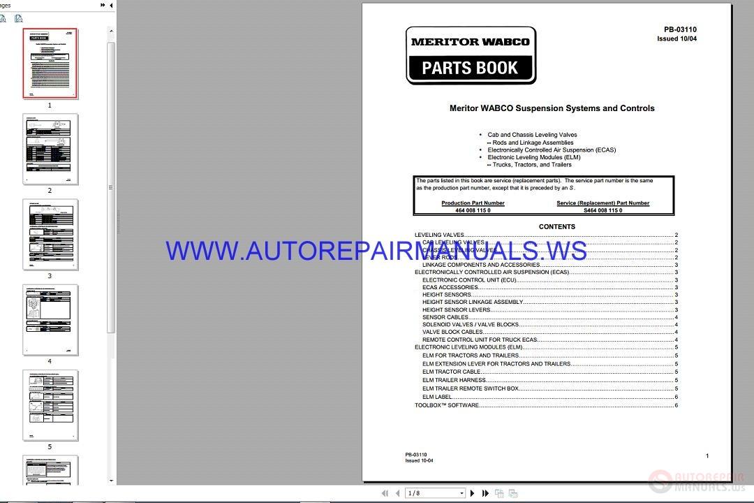 Meritor Wabco Pb 03110 Suspension Systems And Controls Parts Book 10 2004