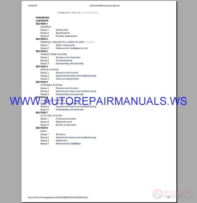 Product Of The Week Hyundai R260lc 9a Crawler Excavator: Hyundai Forklift Trucks 22 35BH-9 Service Manual