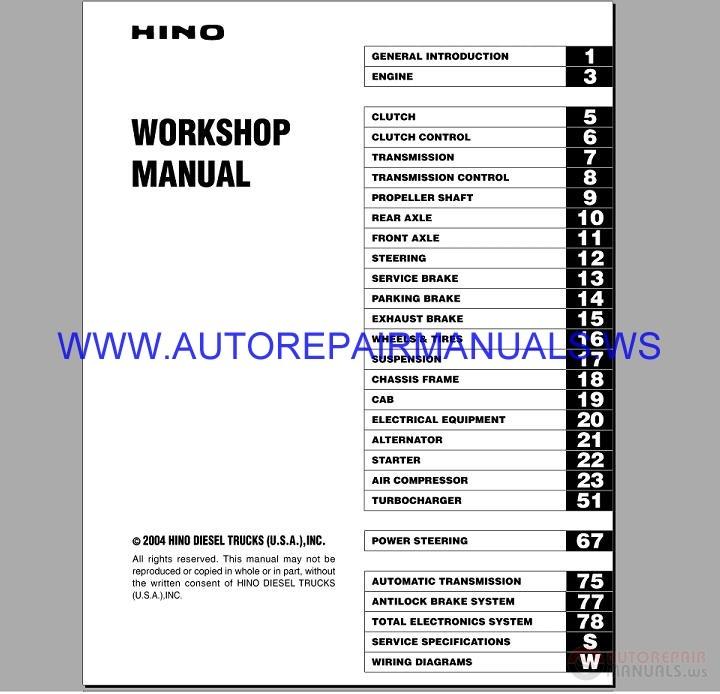 Hino Diesel Truck Workshop Manual 2004
