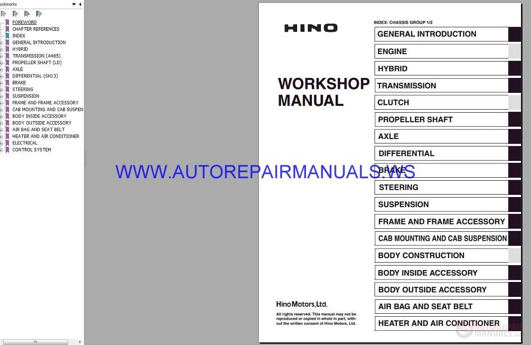 Hino Diesel Truck Workshop Manual 2018