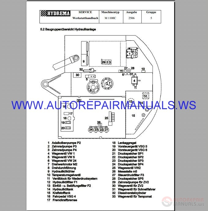 hydrema m 1100c wheel excavator workshop manual