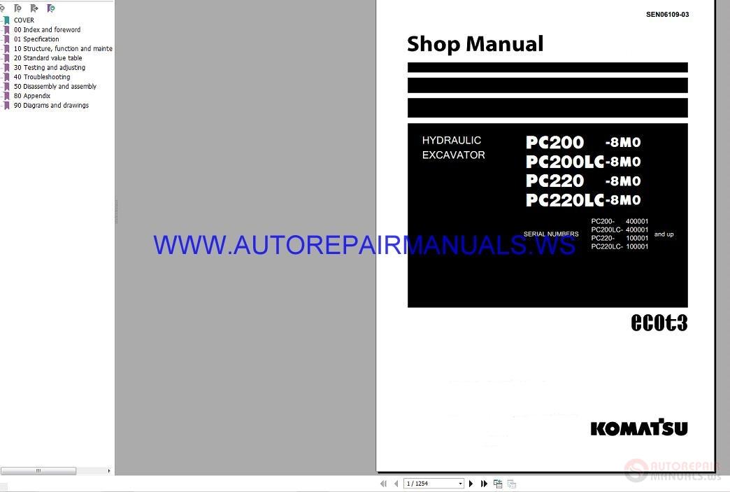 Komatsu PC200-220LC-8MO Hydraulic Excavator Shop Manual