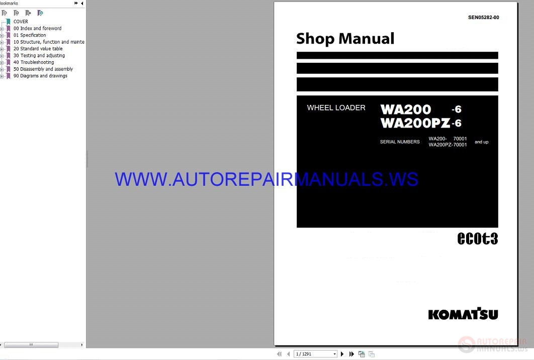 Komatsu WA200 WA200PZ-6 Wheel Loader Shop Manual SEN05282-00_2009