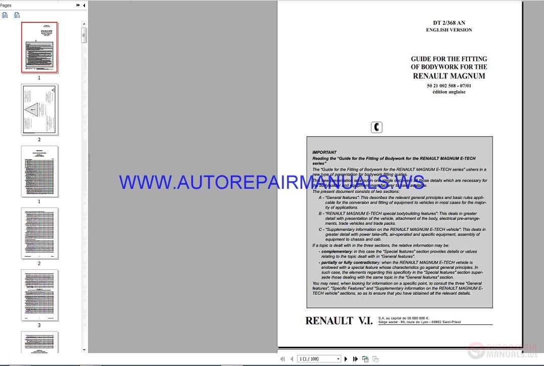 Renault Magnum E-tech Dt2-368 Series Service Manual 07-2001