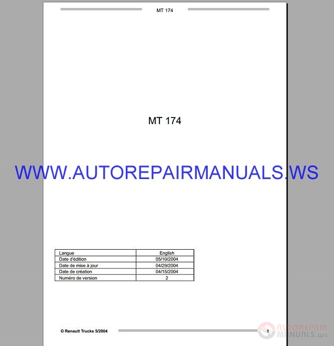 Renault Truck Mt Service Manual 2004