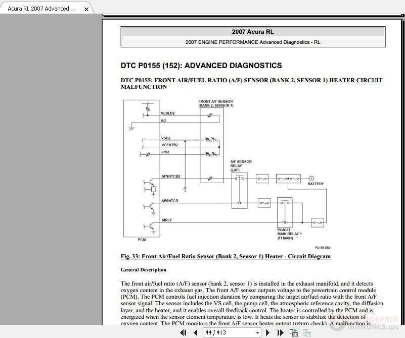 Acura RL 2007 Advanced Engine Performance Diagnosis