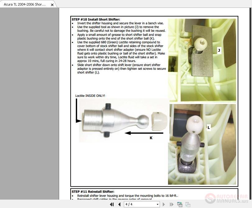 Acura Tl Short Shifter Installation Instruction on 2001 Dodge Dakota Manual Pdf