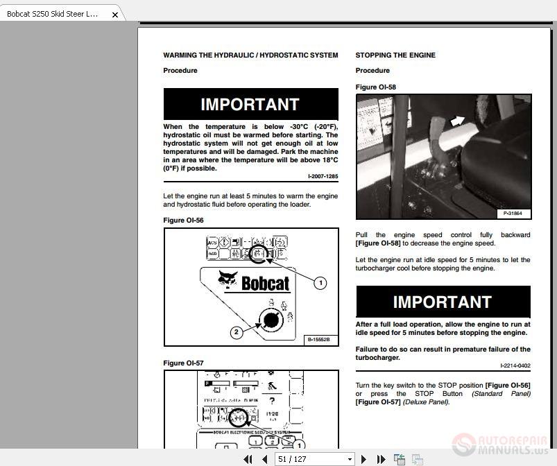 Bobcat S250 Skid Steer Loader Operation And Maintenance
