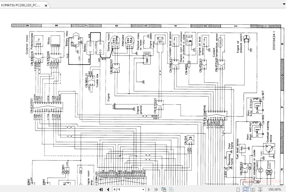 Komatsu Pc200 220 Pc200 220lc-5 Electrical Circuit Diagram