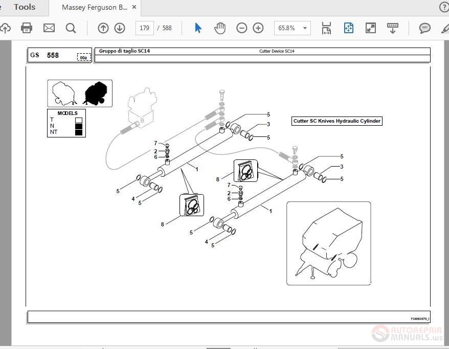 Massey Ferguson Baler MF 720V SC14 FLEXIWRAP Parts Manual