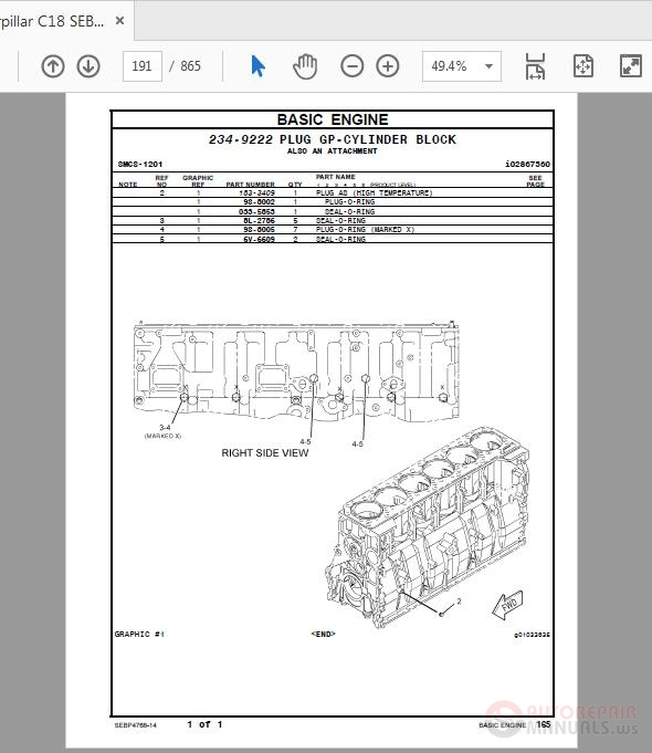 Caterpillar C18 Sebp4768-14 Marine Engine Parts Manual