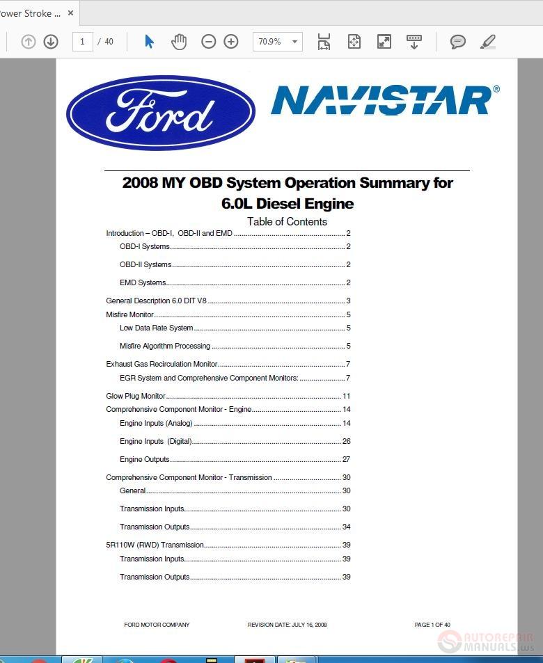 Ford Power Stroke Dielsel Engine 2008 6 0l V8 Diagnostic Manual