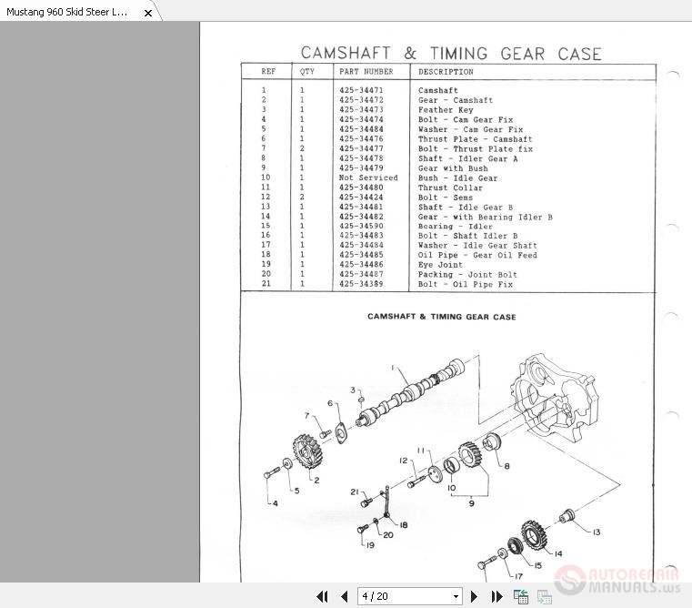 Mustang 960 Skid Steer Loader Parts Manual