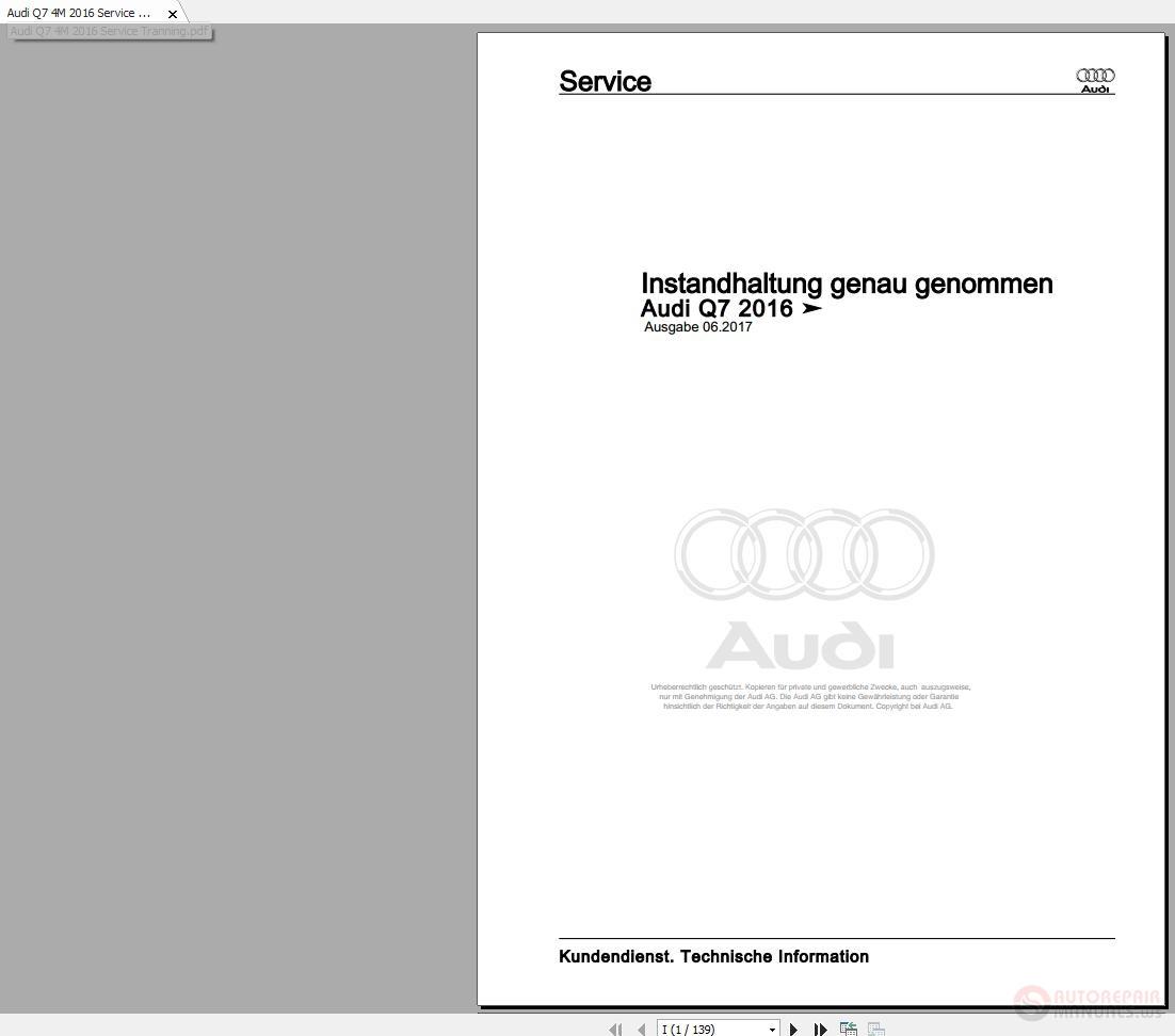 Audi Q7 4m 2016 Service Tranning