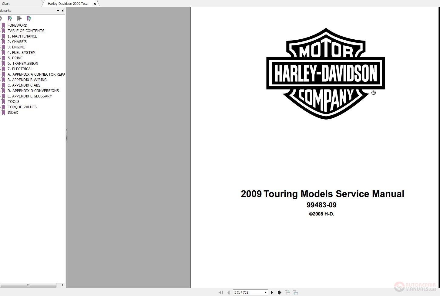 harley-davidson 2009 touring models service manual