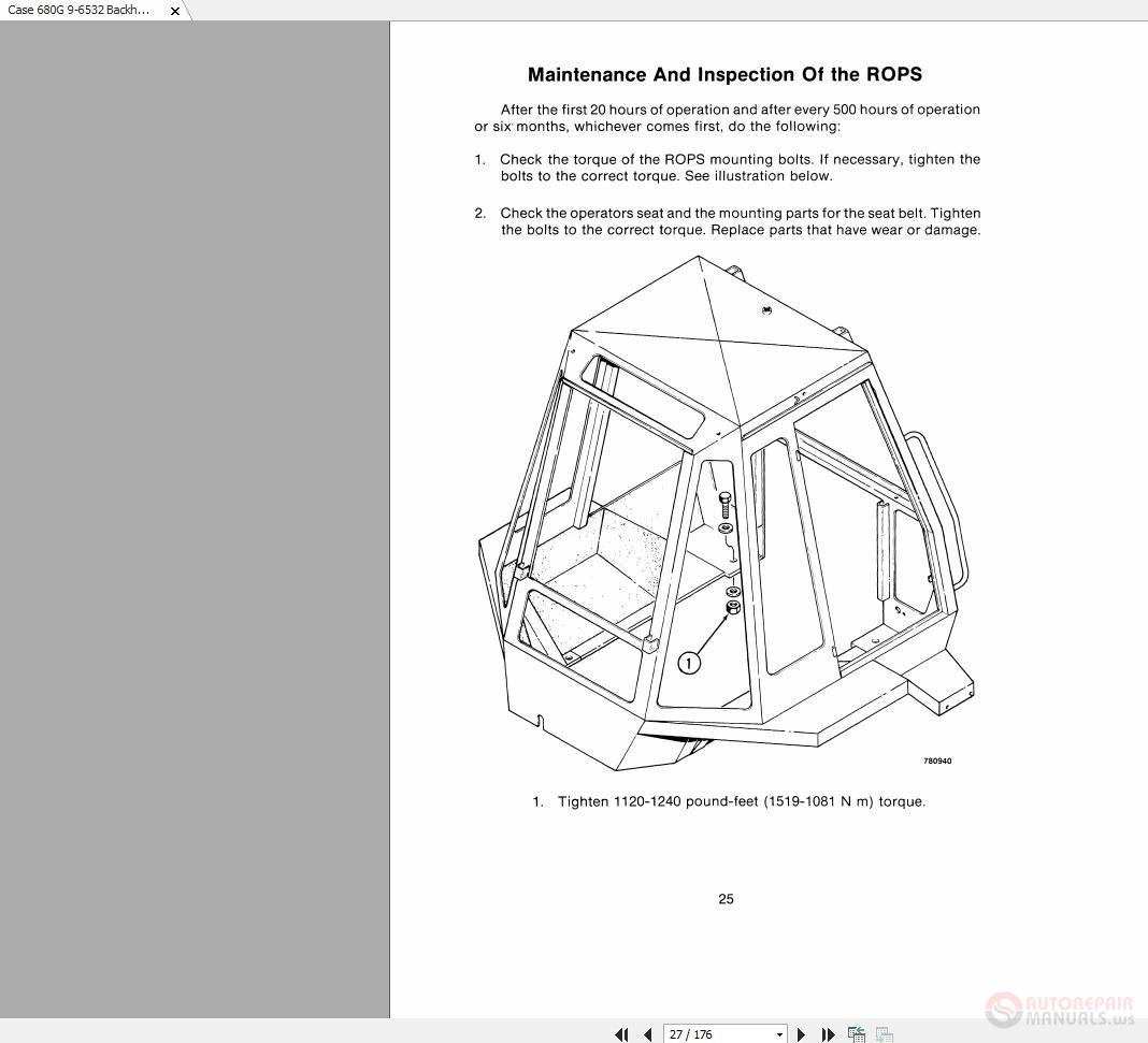 Case 680G 9-6532 Backhoe Operators Manual   Auto Repair