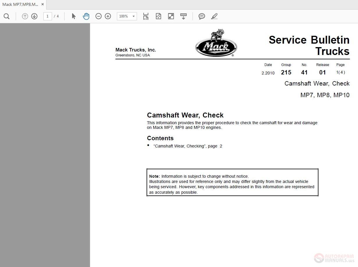 Mack MP7,MP8,MP10 Camshaft Wear Service Bulletin Trucks