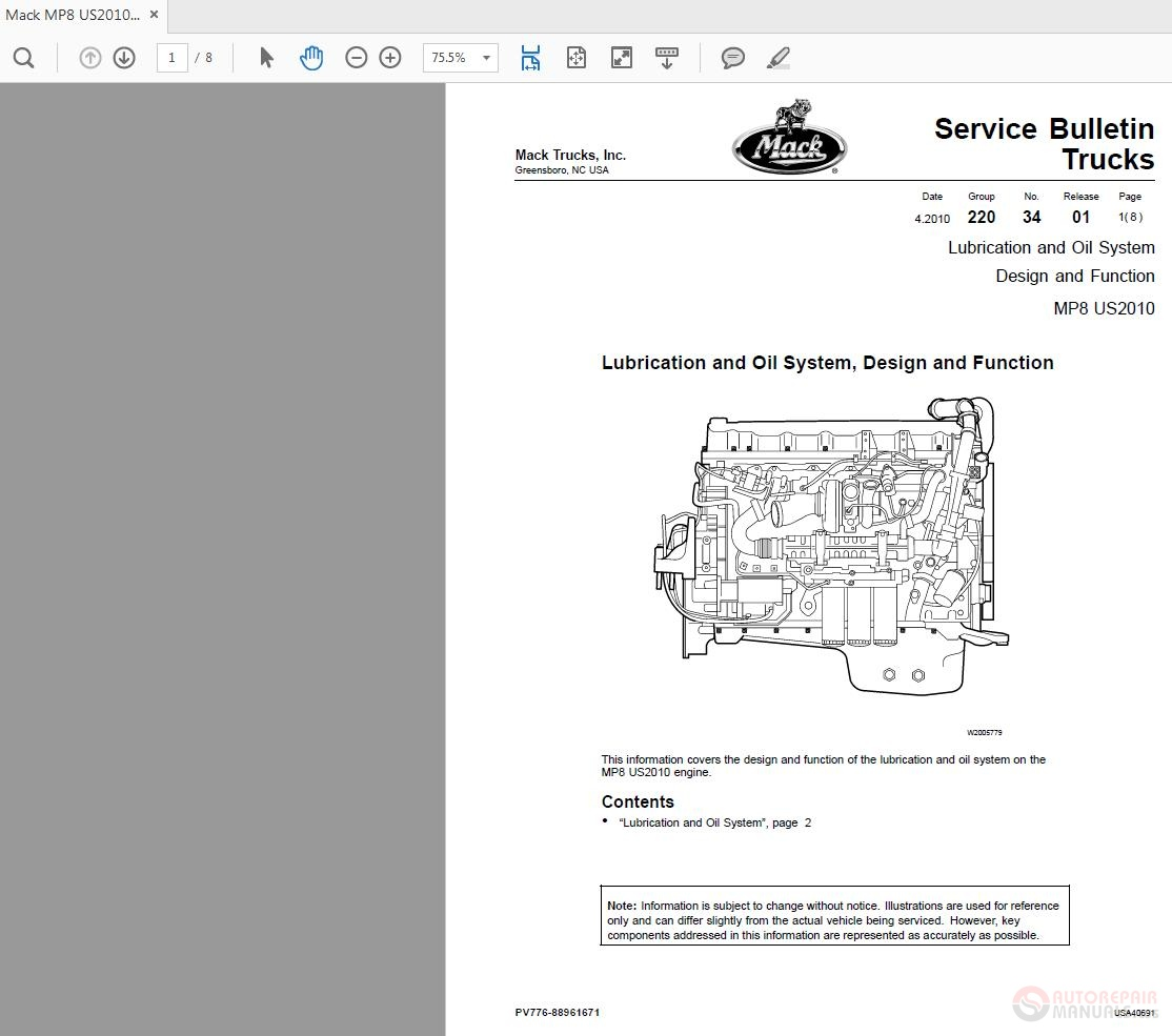 Mack Mp8 Us2010 Lubrication