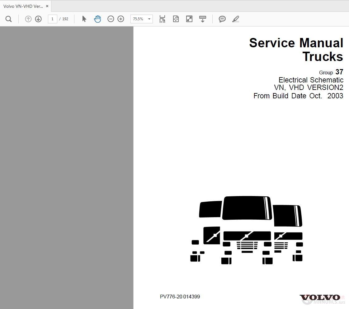 volvo vn vhd ver2 electrical schematic service manual 10 2003 rh autorepairmanuals ws 1995 Volvo 850 Problems 1996 Volvo 960 Repair Manual