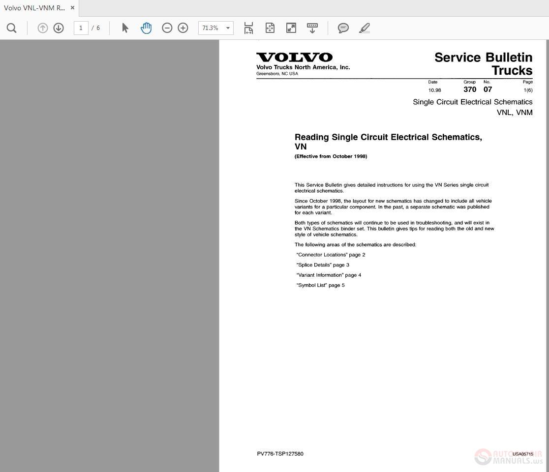 Volvo VNLVNM Reading Single Circuit Electrical Schematics