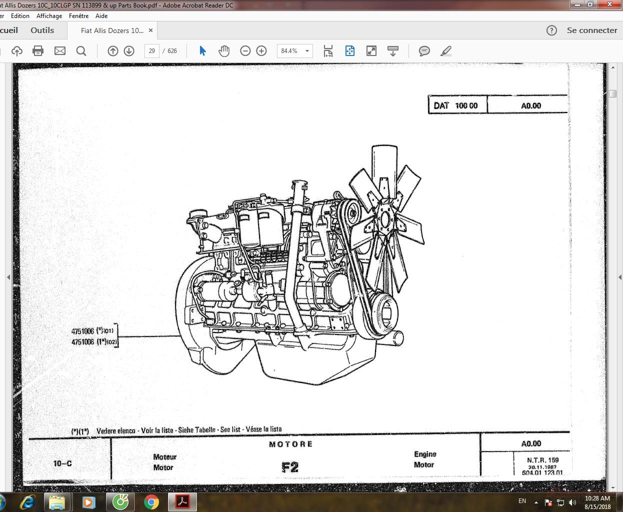 Fiat Allis Dozers 10C_10CLGP SN 113899 & up Parts Book