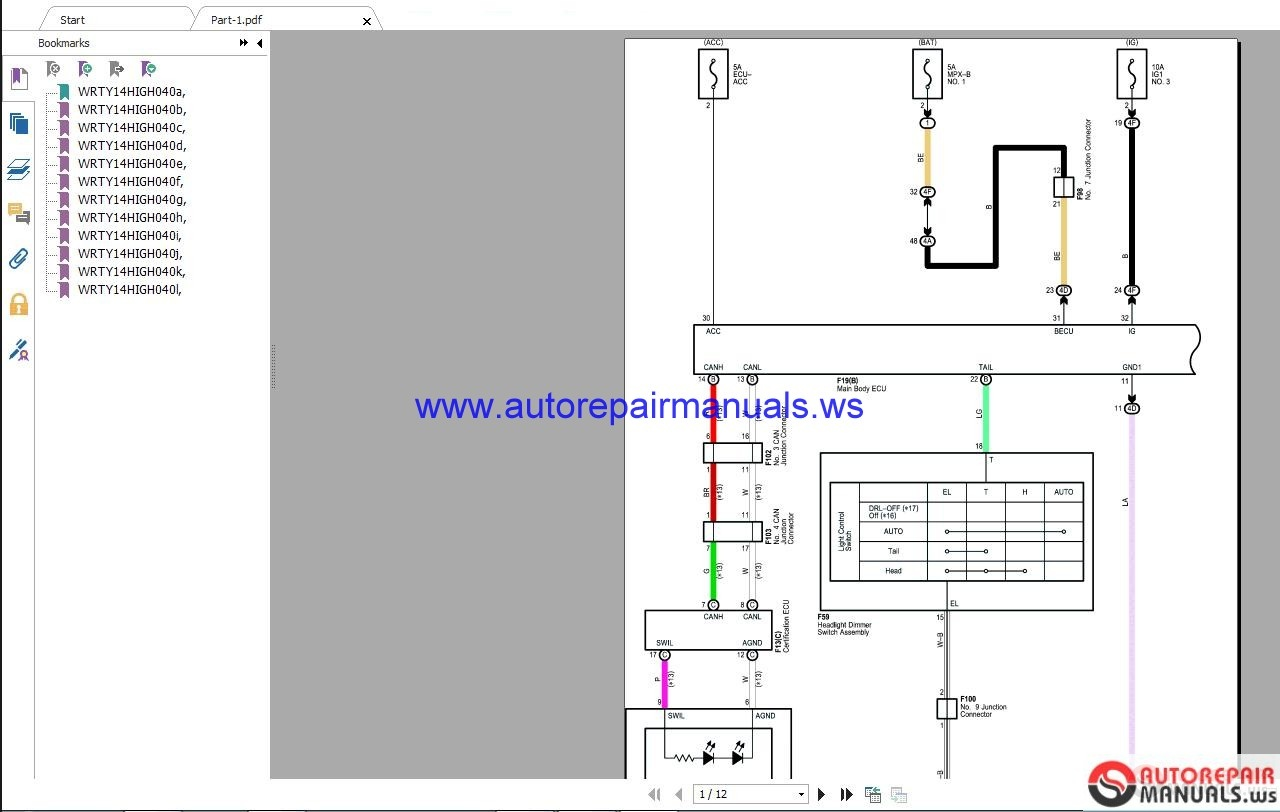 Toyota Lexus 2018    Electrical       Wiring       Diagram    CD   Auto Repair Manual Forum  Heavy Equipment