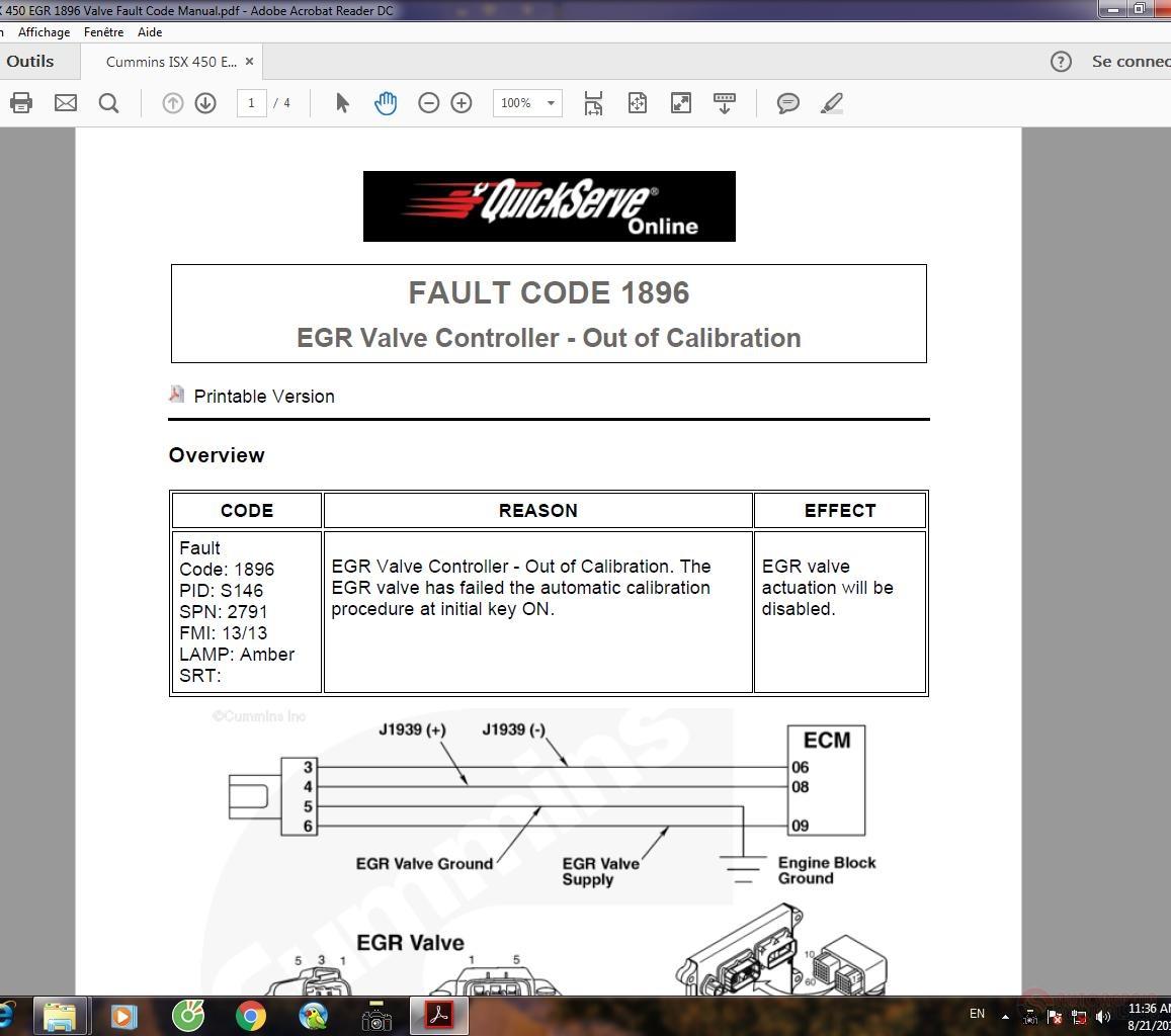 Cummins ISX 450 EGR 1896 Valve Fault Code Manual | Auto