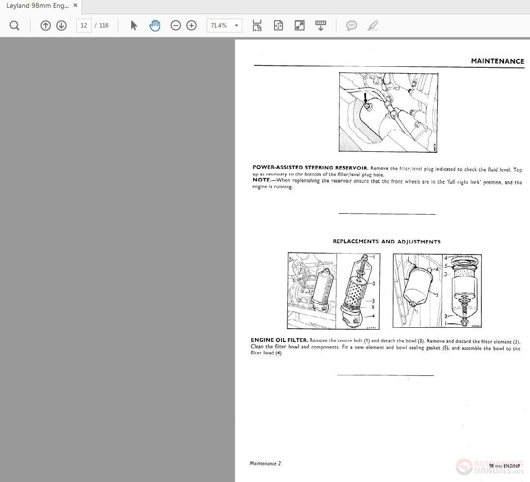 Leyland 98mm Engines Workshop Manual Supplement