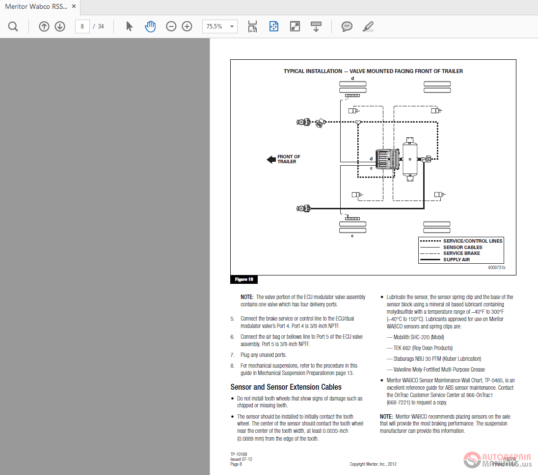 Meritor Wabco RSS 1M Trailer ABS TP 10169 Technical Bulletin