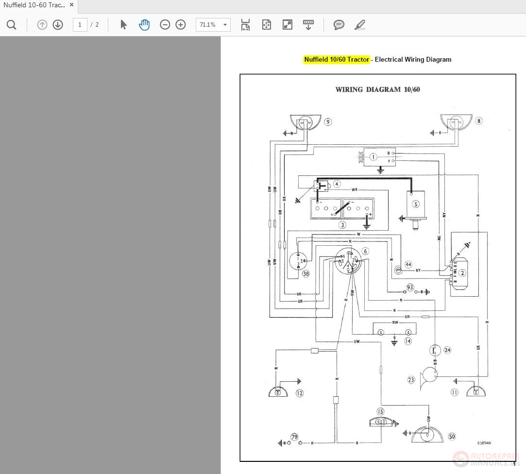 Nuffield 10-60 Tractor Wiring Diagrams