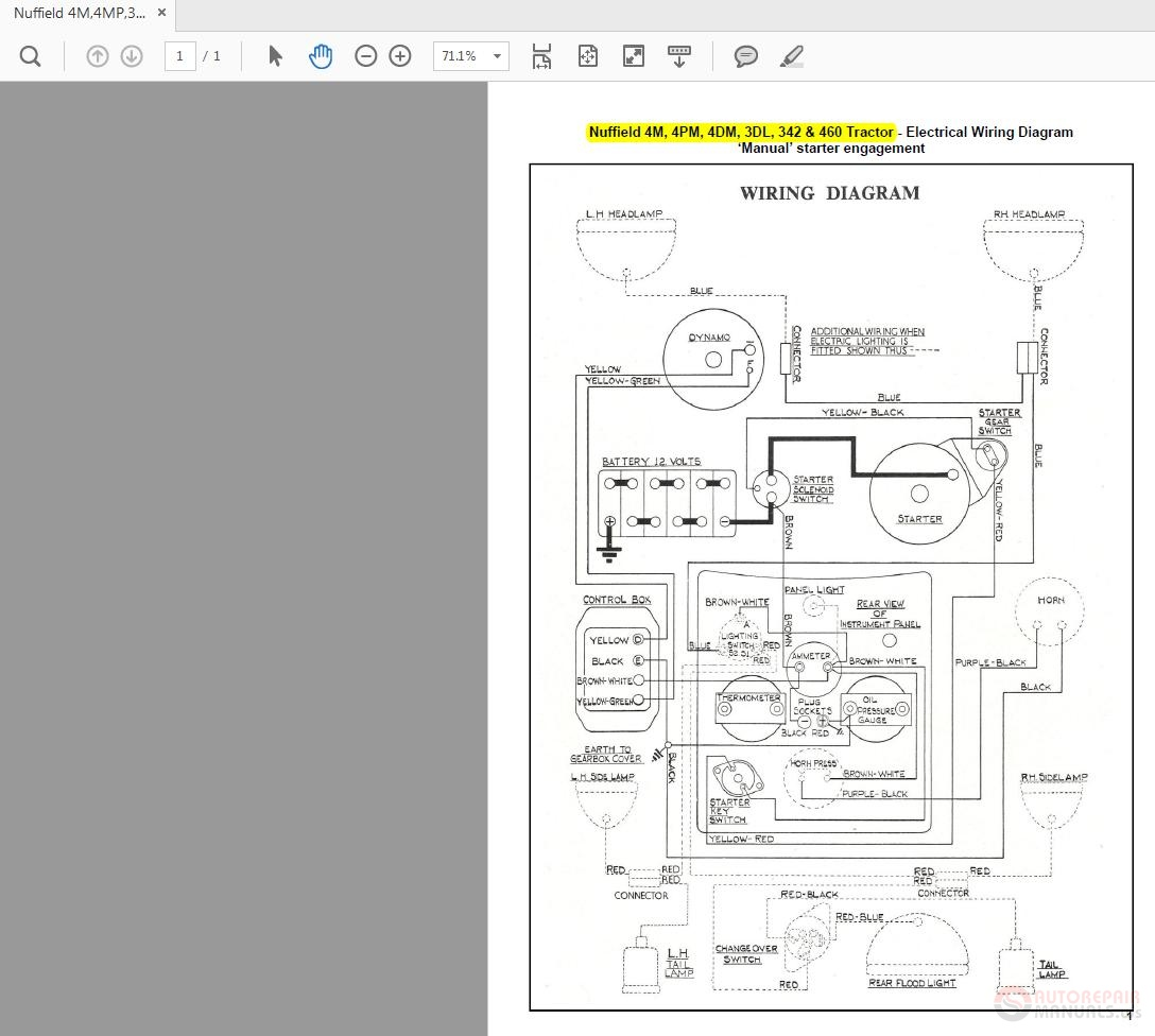 Nuffield 4m 4mp 3dl 342 460 Tractor Wiring Diagrams