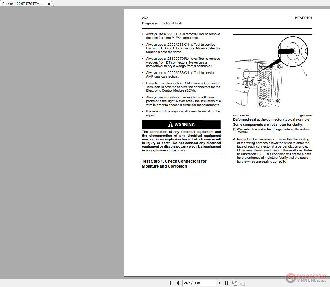 Perkins 1206e E70tta Kenr9101 04 Troubleshooting Auto Repair Wiring Harness