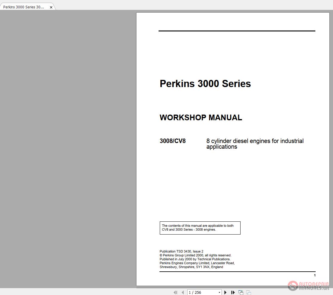 Perkins 3000 Series 3008 or CV8 TSD3430E2 Workshop Manual