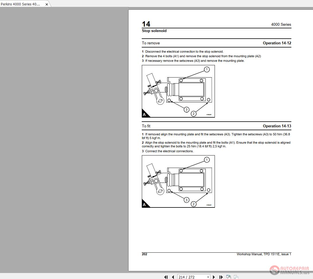 Perkins 4000 Series 4006-23 TAG1A,2A,3A TPD1511E1 Workshop Manual